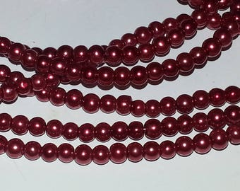 100 pearl beads 3mm red round