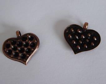 Metal 21mm antique copper heart pendant