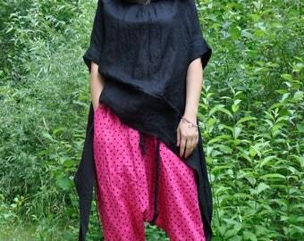 Black linen shirt/Loose hooded top/Linen summer top/Linen black tunic/Casual top/Extravagant shirt tunic/Handmade boho item/Long tunic/T0312