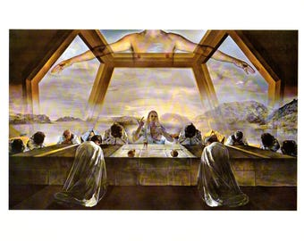 """Salvador Dali, The Sacrament of the Last Supper. These Bookplates are book copywrited 1966. The pages are approx. 11"""" wide and 15"""" tall."""