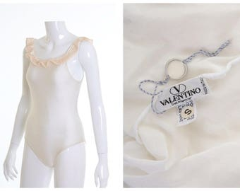 VALENTINO authentic vintage deadstock 1980s white one piece swimsuit New/Never Used - size S