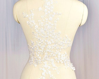Flower Lace Fabric White Lace Applique Embroidered Floral Lace Wedding Bridal Lace Fabric Dress Gauze Tulle A07 (One Panel )