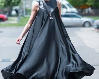 15% SUMMER SALE New Collection Black Maxi Dress, Satin Black Kaftan, Extravagant Long Dress, Party Dress, Daywear Dress by EUG fashion
