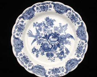 Ridgway Windsor Blue and White Charger or Display Plate 11.875 inches
