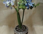 Silver plated flower arranging decorative centerpiece lidded flower bouquet posy holder  vase by Lanthe of England