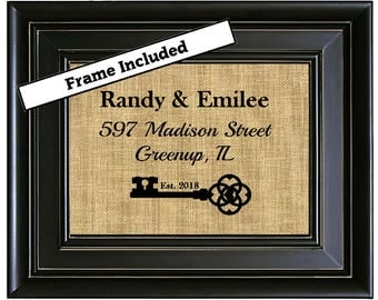 FRAMED Personalized House Warming Gift New Home Housewarming Gift Our First Home Gift Address Sign New House Gift New Homeowner Closing Gift