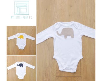 Long sleeve bodysuit with appliqué elephant in polka dot fabric - navy, yellow or taupe