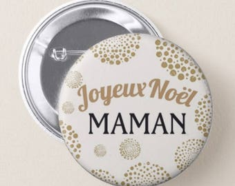 Badge pin 32mm personalized name, Merry Christmas, place card