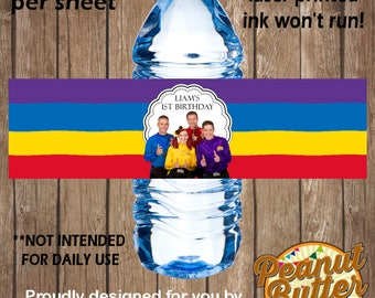 Personalised Birthday Wiggles WATER BOTTLE peel & stick sticker Labels - 5 Per Page