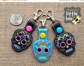 sugar skull 4x4 friendly MINI snap tab key fob keychain embroidery design sew pes dst +more Instant Download! bean stitch