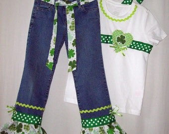 Custom boutique St. Patrick's Day jeans & ribbon shirt all sizes available