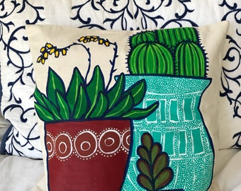 16x16 Hand Painted Succulent Decorative Throw Pillow