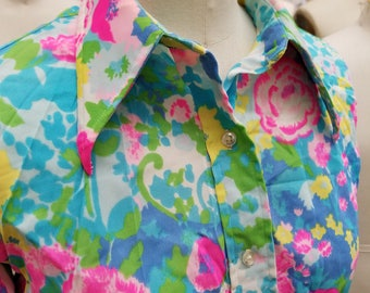70s Bright Polyester Floral Blouse