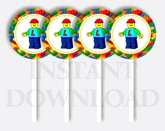 Lego Cupcake Toppers Instant Download, Lego Cake Toppers, Lego Party Cake Toppers, Lego Party, Lego Party Printables, Party Circle, Brick