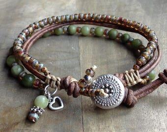 Jade bohemian bracelet boho chic bracelet rustic bracelet boho bracelet hippie womens jewelry boho chic jewelry gift for her