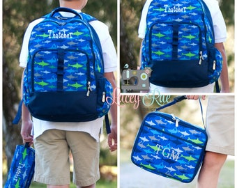 Boys Shark Personalized Backpack, Lunchbox, Pencil pouch, Preschool backpack, Monogrammed backpack, School Age Backpack,