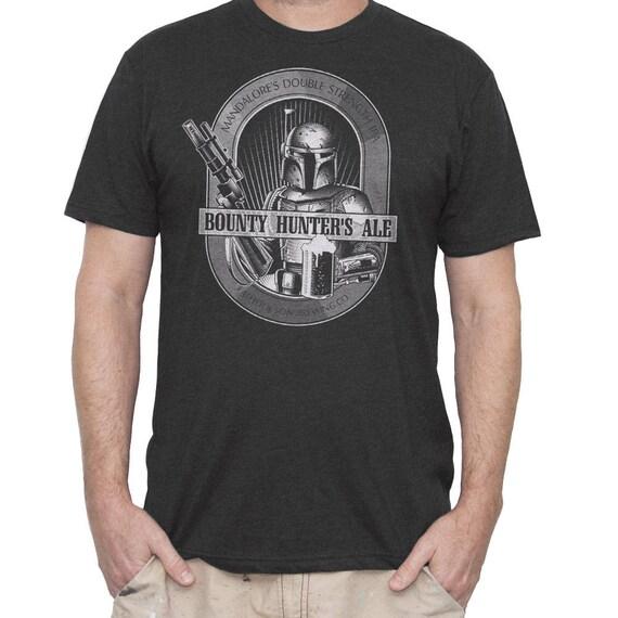 Star Wars Shirt- Mens Boba Fett T-shirt - Boba Fett Bounty Hunters Ale Hand Screen Printed on a Mens T-shirt