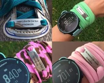 Inspirational motivational engraved tag running bracelet band  shoelace personalized gift
