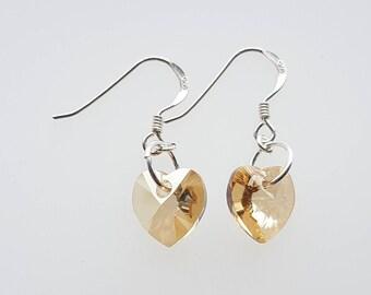 Heart crystal drop earrings, Swarovski crystal earrings, sterling silver drop earrings, red, golden shadow, Crystal AB