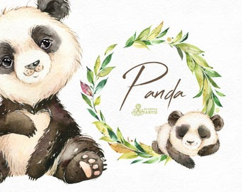 Panda. Watercolor little animal clipart, floral wreath, forest, baby panda, leaves, china, nursery art, nature, realistic, wild, frame, cute