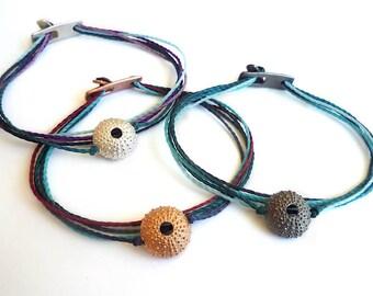 Sterling Silver Sea Urchin Bracelet - SS, Rose gold Plated or Black Platinum Plated Sea Urchin Bracelets