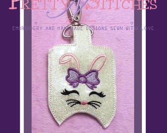 Embroidery Design for 1 oz Bath and Body Works BunnyFace Sanitizer Holders for 4X4 is 2 hoopings and 5X7 hoops