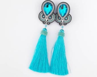 Turquoise earrings, bridesmaid earrings, statement earrings, tassel earrings, light blue earrings, long earrings, crystal earrings, bohemian