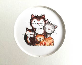 Cat print, miniature cats picture, ginger, tabby cat, grey and tortoiseshell, cat lover gift, grey or white