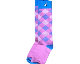 "Pink & Sky Blue Women's Argyle Socks | Christmas Holiday Gift Stocking Stuffer | Fun Crazy Unique Colorful - ""Scotsman"""