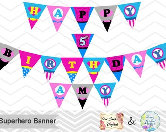 Printable Superhero Girl Banner, Superhero Girl Bunting, Instant download Superhero Birthday Banner, Pink Superhero Party Bunting 00276