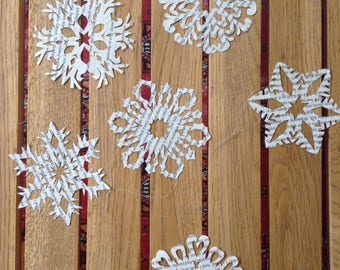 Recycled book snowflakes christmas ornaments