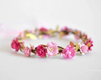 First birthday fuchsia flower halo Hot pink and gold floral crown Pink and gold headband toddler Pink gold flower crown Toddler floral crown