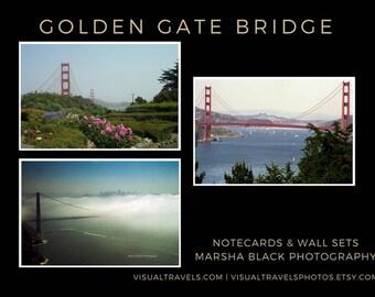 "San Francisco Photography, ""Golden Gate Bridge"" Print Set, San Francisco Wall Art, Golden Gate Bridge Wall Art, Golden Gate Bridge Cards"
