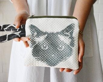 Ragdoll Birman Pickle Cat Face Hand-printed Violet Black Wrist strap Zipper Pouch