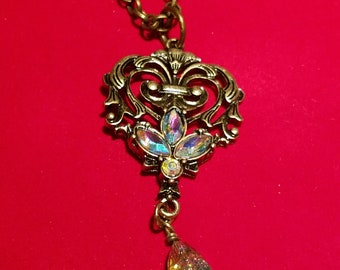 Antique Bronze Necklace Embellished with Crystal.