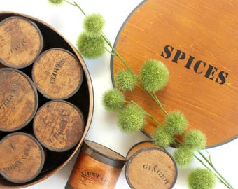 Wooden Spice Box, Rustic Kitchen Decor