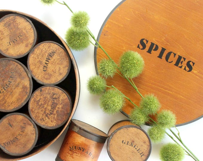 Featured listing image: Wooden Spice Box, Rustic Kitchen Decor