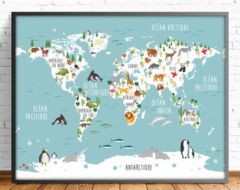 Printable world map etsy nusery world map french animal world map 4 sizes includedmapamundi print gumiabroncs Image collections