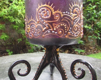 Gothic Purple Glasspainted Tentacle Cup