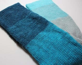 Blue and Grey Cowl, Multi Knit Cowl, Ready to Ship, Striped Cowl, Knit Cowl, Infinity Scarf,  Acrylic wool