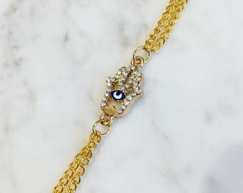 Gold double chain bracelet~diamonte hamsa hand charm~extender chain and clasp~arabic spiritual jewellery~gift for her