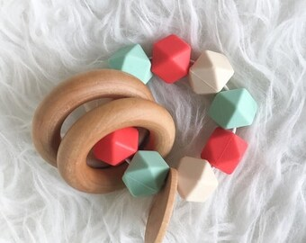 SUMMER SALE Baby Gift Natural Teether Organic Baby Toy Coral Mint Teether Infant Teether Wooden Teether Silicone Teether Sensory Teether Sen