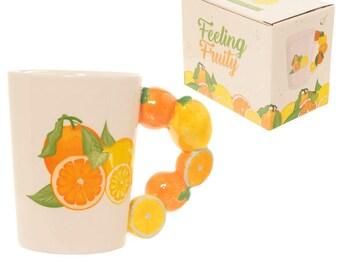 Fruity Oranges and Lemons Shaped Handle Ceramic Mug