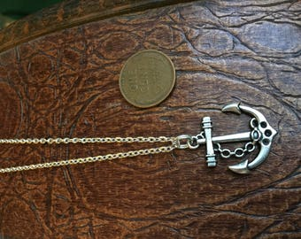"""Anchor Charm on Silver Plated 18"""" Chain"""