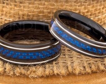 Tungsten Ring Tungsten Wedding Ring Men Women Wedding Band Blue Carbon Fiber Ring Flat Promise Anniversary Engagement 6mm Matching Ring Set