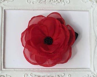 Brooch Fleur Rouge elegance