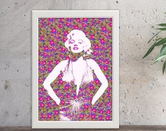 ON SALE Marilyn Monroe, Floral, Marilyn Monroe dress, Pink print, Floral dress, Marilyn, Beauty, Dried flowers, Home decor, Handmade, Giclee