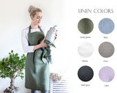 Full Apron With Two Pockets - Natural linen apron - Gift for her