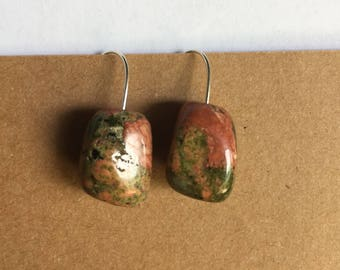 Pink and Green, Unakite Summer Earrings
