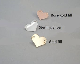 Add on heart Add a charm, , Customize Your Necklace, Bracelet, Anklet  Silver, Gold Rose gold